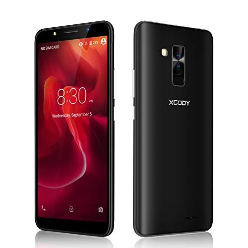 Xgody SIM Free Mobile Phones, Y26 (2018) Android GO 8.1, Dual SIM Unlocked Smartphone 6 Inch IPS Bildschirm- 2800mAh Battery - 8MP+5MP Dual Cameras - Bluetooth - GPS - 3G Mobile Phone (Black)
