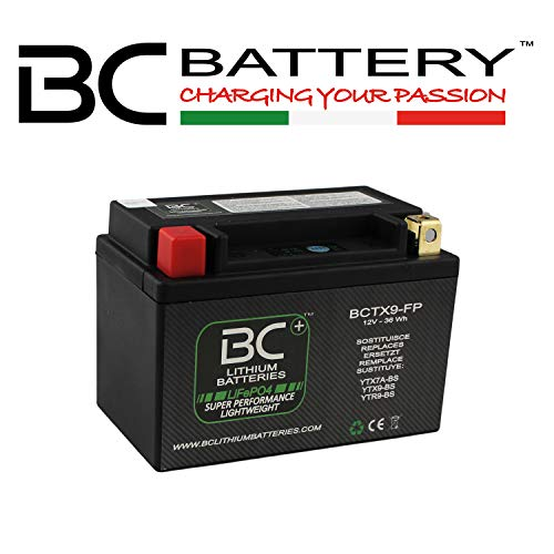 BC Lithium Batteries BCTX9-FP Batteria Moto Litio LiFePO4, Nero, 1