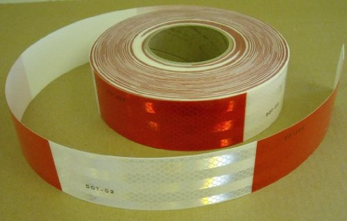 """Safe Way Traction 2' x 12' Roll 3M 983 Series Diamond Grade Conspicuity Trailer DOT-C2 Reflective Safety Tape Red & White 6""""/ 6"""" Pattern 983-326"""