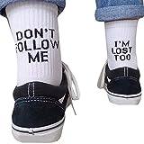 Borlai Calcetines Deportivos para Hombres Y Mujeres Calcetines de Skate de Algodón con Letras Divertidas de Moda 1 par