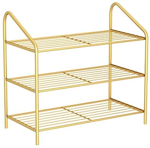 Zapato de hierro zapatos múltiples zapatos de alojamiento zapatos de almacenamiento Caja de almacenamiento para la puerta dormitorio dormitorio,Gold-3 Tier