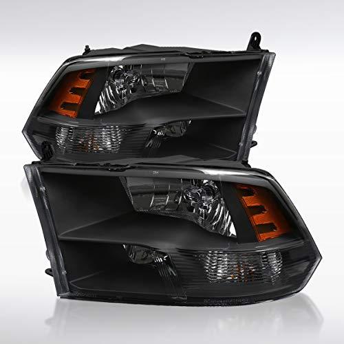 Autozensation for 2009-2018 Dodge Ram 1500/2500/3500 Black Quad Lamps Headlights Left+Right