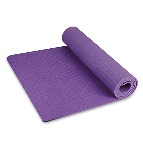 INTEY TPE Tapis Yoga, Tapis Fitness sans Colle, Antidérapant, Épais, Écologique, Hypoallergénique, Cordon Inclus, 180 x 60 x 0.7cm Tapis de Sol pour Maison, Gym