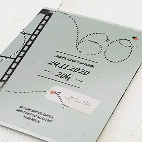 sendmoments Geburtstagskarten Einladung, Moviestar, 60. Geburtstag 5er Klappkarten-Set C6, personalisiert mit Wunschtext & persönlichen Bildern, optional mit passenden Design-Umschlägen