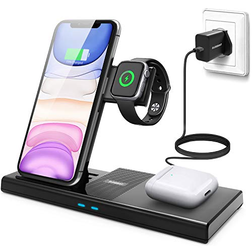 ELEGIANT Kabelloses Ladegerät 4 in 1 Wireless Charger Mit QC 3.0 Adapter Schnell Ladestation Qi-Zertifiziert für AirPods Pro iWatch 5/4/3/2/1 iPhone 12 11 Pro/11 Pro Max/XS, Samsung Galaxy S20 usw
