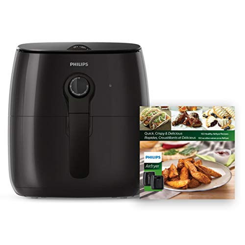 Philips Kitchen Appliances Premium Airfryer with Fat Removal Technology and Bonus Cookbook, Black, HD9721/99, 3 qt, New