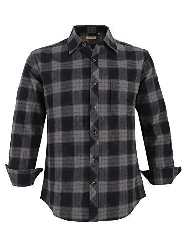 Coevals Club Men's Long Sleeve 100% Cotton Casual Button Down Plaid Soft Fleece Flannel Shirt (#15 Gray&Black, M)