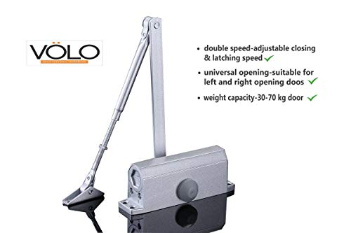 Volo Automatic Hydraulic Double Speed Aluminium Door Closer Premium Heavy Duty for Residential/Commercial Purpose with Fitting Set (Silver). Weight Capacity: 30kg- 70kg