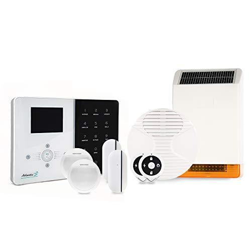 Atlantic'S – Alarma inalámbrica IP IPEOS Kit 3 MD-326R – Pack de Alarma WiFi – Configuración a Distancia, Kit de 3 Sirena Solar