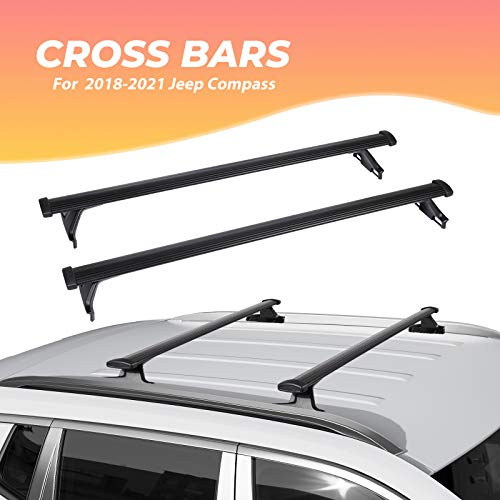 BougeRV Car Roof Rack Cross Bars for 2018-2021 Jeep Compass with Side Rails, Aluminum Cross Bar Replacement for Rooftop Cargo Carrier Bag Luggage Kayak Canoe Bike Snowboard Skiboard