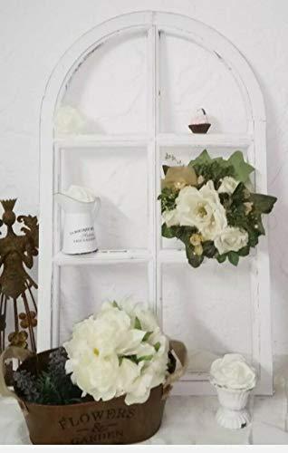 Marco de ventana decorativo con arco, de madera, color blanco, estilo shabby chic, 70 cm