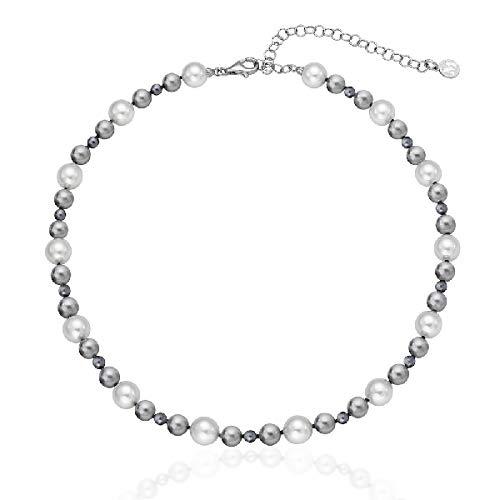 Majorica 16502.21.2.000.010.1 Halskette für Damen, Silber, Perlen, mehrfarbig 6/8/10 mm, Größe 40/45 cm