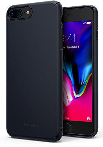 Ringke Funda iPhone 7 Plus/iPhone 8 Plus, [Slim] Ajuste en el Mango Slender Fluido Borde Curvado Mejorar la Piel Cubierta de la Caja Protectora Dura de la PC para Apple iPhone 7 Plus - Slate M