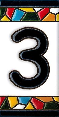 Número y letras para casa, Cerámica Pintada a Mano 5 x 11 cm md trencadis, Grabado y Cerámica Española (Número 3)
