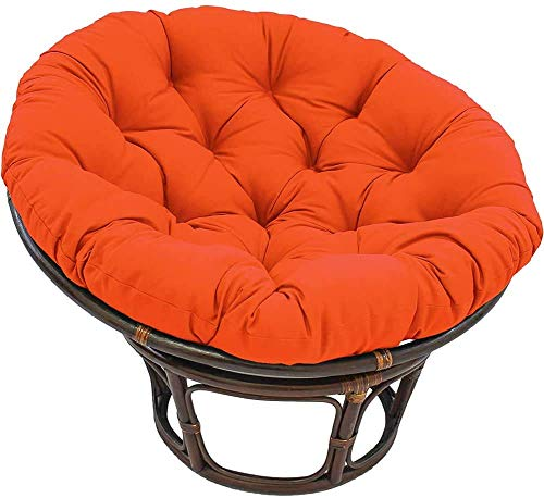 KSWD Solid Color Round Papasan Chair Cushion Waterproof with Ties Egg Nest Chair Pads Quilted Design for Outdoor Garden Rocking Chair-40x40x10cm Orange