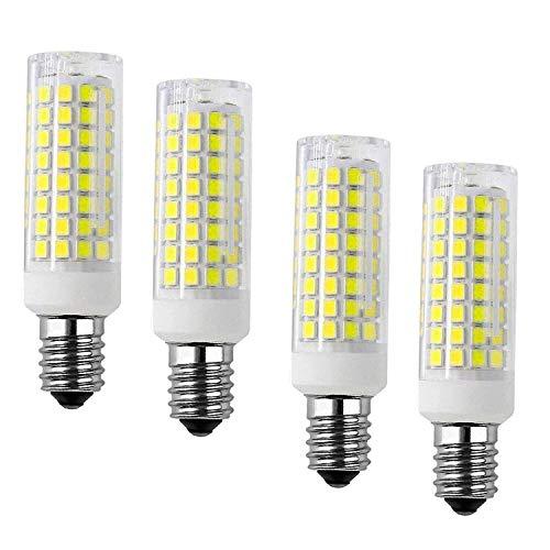 Bombilla de luz LED E14 7W, 6500K blanco 102 LED 2835-SMD 750LM lámpara de cerámica, CA 220V / 230V (paquete de 4)