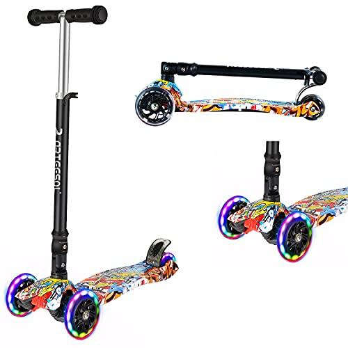 arteesol Patinete para niños a partir de 2 años, plegable, 3 ruedas con flash LED, altura regulable, diseño de graffiti