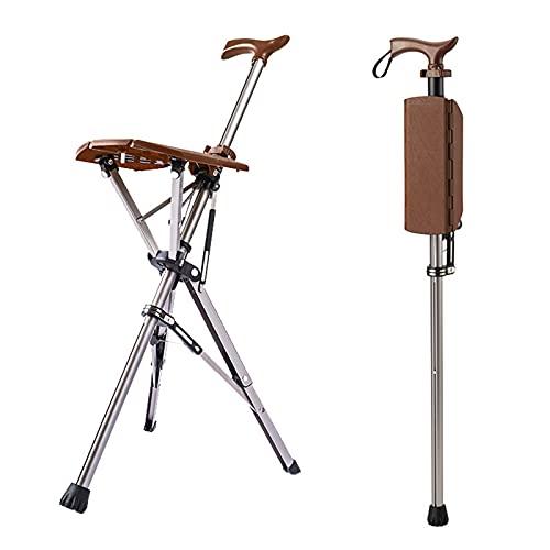 HJK Silla para Bastones, Silla Que Camina, Multifunción trípode telescópico de Aluminio Ancianos Andador con sillas, Adecuado para la Pesca el Senderismo