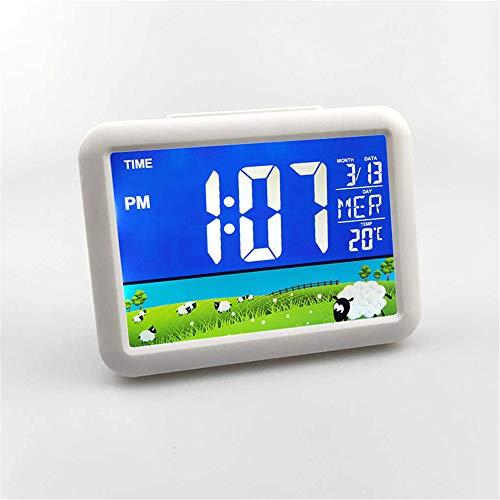 GYCZC LCD-Farbbildschirm Uhr Großbildschirm Elektronische Uhr Kinder Student Nacht Wecker 7002Wj Grünland