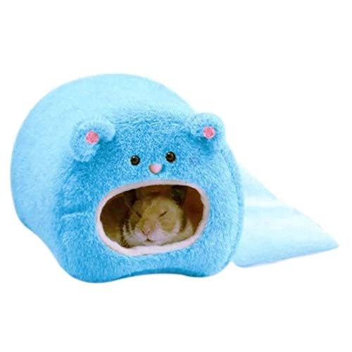 PAN-EX Camas para Mascotas y Muebles Lindo Pequeño Animal Jaulas Mascota Conejo Hamster Casa Cama Rata Ardilla Guinea Invierno Cálido Colgar Jaula Hamster Nido (Color : Blue)