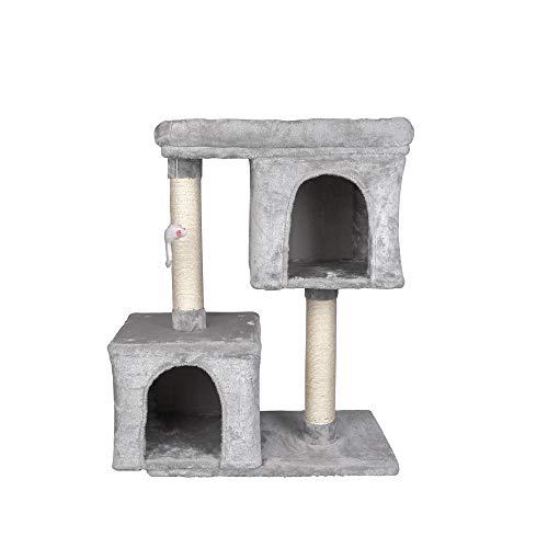 GOJOOASIS Kratzbaum mit Großer Plattform und 2 Plüschhöhlen Spielhaus, Kletterbaum für Katzen, Katzenbaum Höhe 82 cm