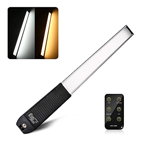LUXCEO Handheld Light Photography Portable LED Video Light Wand with Remote Control Rechargeable Battery and Carrying Bag, 1000 Lumen 6 Brightness Levels, Adjustable Color Temperature 3000K-5700K