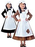 Package includes 1 Victorian Girl Costume with Hat and Attached Apron, a classic outfit for kids. Features a brown calf length dress with a white frilly apron attached and comes with a white mop cap. Use this Costume for World Book day, Birthdays, Ro...