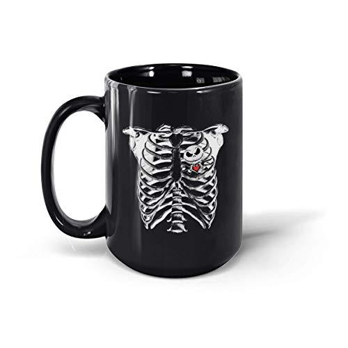 Jack Skellington Nightmare Heart Lover - Taza de cerámica para disfraz de Halloween (325 ml, 445 g), color negro