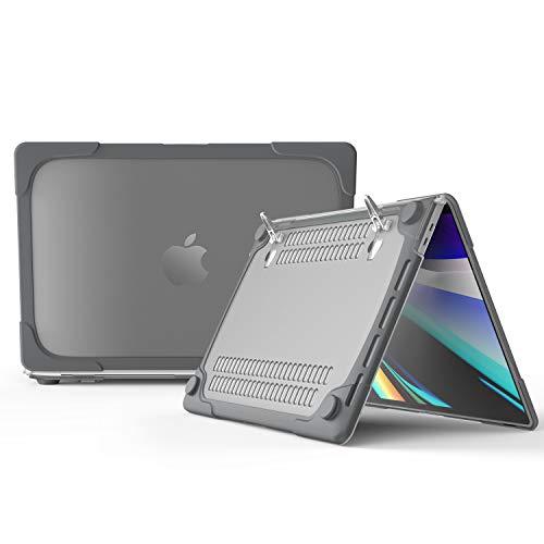 Capa para MacBook Pro de 16 polegadas com suporte, capa protetora de cristal DMaos com amortecedor e canto reforçado com absorção de choque, ventilação antiderrapante, premium para Mac 2019 modelo A2141, Cinza, MacBook Pro 16 inch 【A2141】