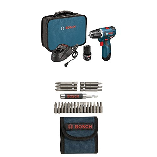 Bosch PS32-02 12-volt Max Brushless 3/8-Inch Drill/Driver Kit with 2.0Ah Batteries, Charger and Case w/ 21 pc screwdriver bit set