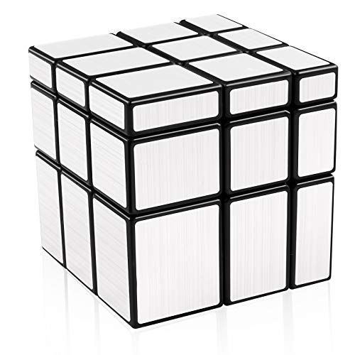 D-FantiX Shengshou Mirror Cube 3x3 Speed Cube 3x3x3 Mirror Blocks Unequal Puzzle Silver Black 57mm