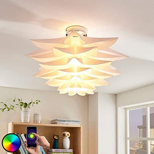 Lindby Smart Home Deckenlampe 'Lavinja' dimmbar (Modern) in Weiß u.a. für Wohnzimmer & Esszimmer (1 flammig, E27, A+, inkl. Leuchtmittel) - Deckenleuchte, Lampe, Wohnzimmerlampe