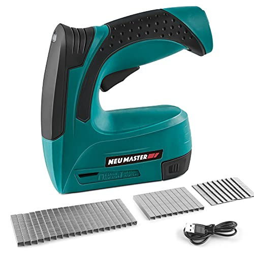 Cordless Staple Gun, NEU MASTER 2 in 1 Electric Brad Nailer/Stapler, 4V Power Stapler Tacker with USB Charger Cable, 3000pcs Staples and 500pcs Nails for Upholstery, Material Repair and Carpentry
