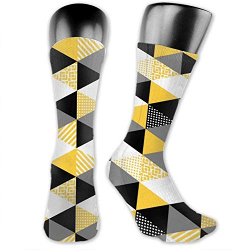 Leila Marcus Herren- und Damen-Socken sind bequem, leicht und schweißresistent. Herrensocken mit lustigen Memphis-Muster, geometrische Formen, mittlere und lange Socken