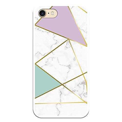 Personalaizer Funda para iPhone 7 / iPhone 8 Diseño Mármol Bonito, Carcasas Chicas, Bonitas, Rosas, Mapa Marmol (Be Unique Funda Gel mármol Colores Franja Dorada)