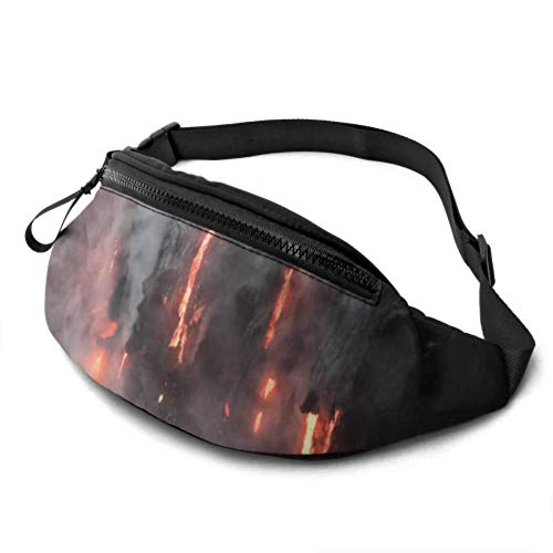 Casual Waist Bag Lightweight Fanny Pack Travel Bum Bags Adjustable Running Pocket Duffle Magma and Water Fusions