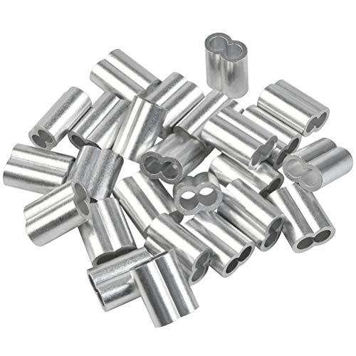 25 Stk Profi Seilklemme 8mm Würgeklemmen aus Aluminium, Pressklemme, Aluminium-Crimpschlaufe Seilklemme Klemmen Expanderseil für Drahtseil Armaturen Kabel