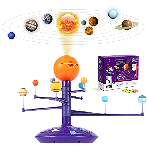 Science Can Solar System for Kids Planetarium Projector, Glow in The Dark Planet Model Kit, STEM Planets Toy for 3 4 5 Year Old Boys Gift