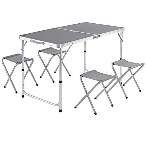 Casaria Mesa de Aluminio Plegable XXL 4 taburetes Plegables función de Maleta Camping Transporte fácil Gris jardín