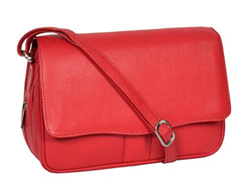 A1 FASHION GOODS Rouge Sac à Bandoulière En Cuir Aux Femmes Classique Flap Par-dessus Messager Décontractée Sac à main - Ada