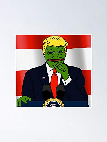 ZHONGYANYAN Funny Donald The Trump Pepe Frog Meme Photoshop, Gift for Home Decor Wall Art Print Poster