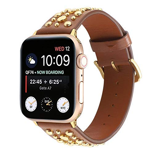 Bands Compatible with Apple Watch 38mm 40mm 42mm 44mm Stainless Steel Strap Replacement Link Bracelet Band Sport Soft Breathable for Iwatch Series 6/SE/5/4/3/2/1 for Women Men Girls Boys, Black watch