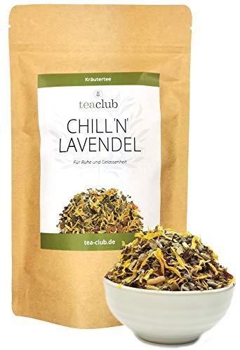 Lavendel Kräutertee Mischung Lose 100g, Entspannungs-Tee mit Fenchel Kümmel Anis Melisse für den Abend, TeaClub