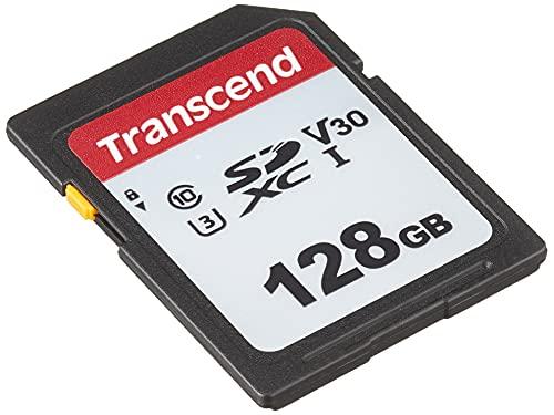 Transcend Highspeed 128GB SDXC Speicherkarte (für Digitalkameras; Bilder & Videos; Autoradio) Class 10, UHS-I U3, Video Speed Class V30 für 4K Ultra HD TS128GSDC300S-E (umweltfreundliche Verpackung)