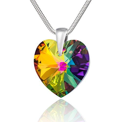 LillyMarie Halsketting voor dames, 925 zilver, Swarovski Elements, hartje, meerkleurig, in lengte verstelbaar, sieradenetui, paar cadeaus