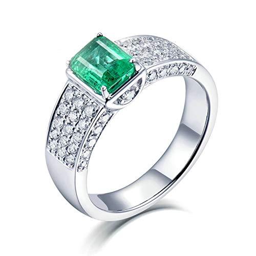 Daesar Anillo de Oro Blanco Hombre 18 Kilates,Rectángulo Esmeralda Verde 1.1ct Diamante 0.7ct,Plata Verde Talla 20