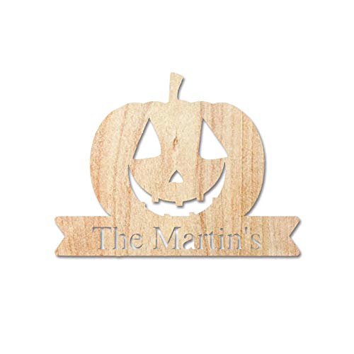 No branded Wood Wall Hanging Plaque Sign Hanging Wooden Custom Front Porch Sign Fall, Personalized Halloween Pumpkin, Halloween Decor Outdoor, Family Name Sign, Last Name Sign, Wall Art 12''