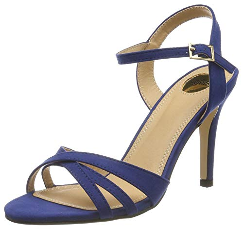 Buffalo Shoes 312703 IMI SUEDE, Damen Knöchelriemchen Sandalen, Blau (NAVY180), 41 EU