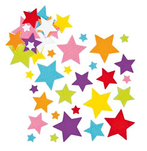 Baker Ross EF944 Stern Sticker-144 Stück, Filz Aufkleber für Kinder zum Basteln, Gestalten und Dekorieren, 0, Assorted