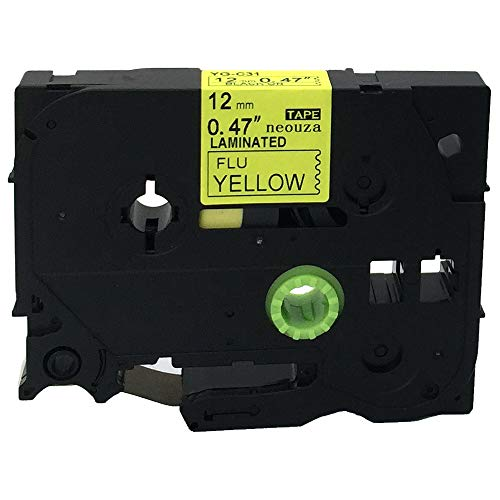 NEOUZA Compatible for Brother P-touch TZe Tz Black on Fluorescent Yellow label tape 6mm 9mm 12mm 18mm 24mm 36mm all size(TZe-C31 12mm)